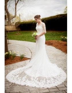 Destination Mermaid Half Sleeves Applique Lace Long Tail Wedding Dress