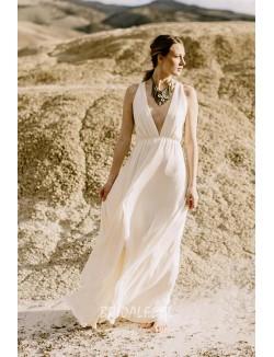 Sexy A Line Deep V Neckline Backless Chiffon Wedding Dress
