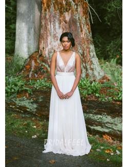 Informal A Line Floor Length V Neck Sleeveless Summer Chiffon Wedding Dress
