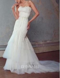 Vintage Mermaid Strapless Floor Length Lace Tulle Winter Wedding Dress