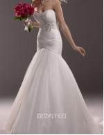 Simple Strapless Sweetheart Floor Length Tulle Mermaid Spring Wedding Dress