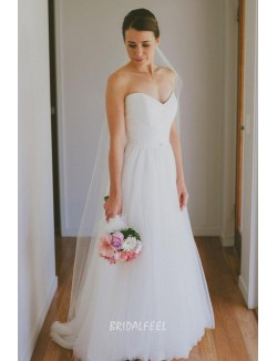 Simple Strapless Sweetheart Lace Tulle A Line Spring Wedding Dress