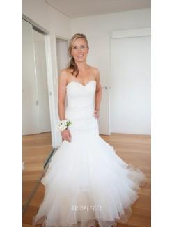 Unique Strapless Sweetheart Beaded Organza Mermaid Fall Wedding Dress