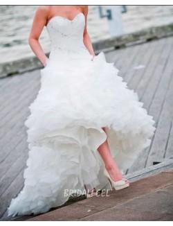 Unique Mermaid Strapless Sweetheart Beaded Organza Fall Wedding Dress