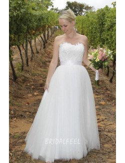 Simple A Line Strapless Floor Length Lace Tulle Spring Wedding Dress