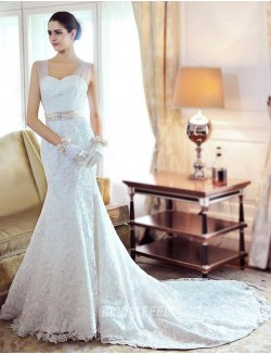 Destination Sleeveless Lace Floor Length Mermaid Spring Wedding Dress
