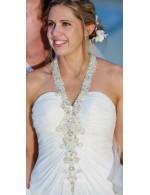 Sheath Halter Floor Length Beaded Chiffon Summer Beach Wedding Dress