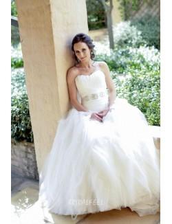 Vintage A Line Floor Length Strapless Tulle Spring Wedding Dress