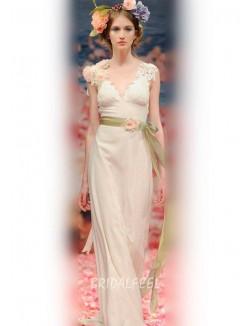 Informal Sleeveless V Neckline Floor Length Sheath Spring Wedding Dress