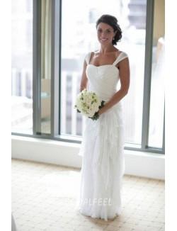 Unique Sleeveless Floor Length White Chiffon Summer Wedding Dress