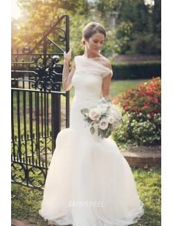 Elegant Sleeveless Floor Length Mermaid Tulle Spring Wedding Dress