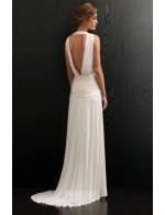 A Line V Neckline Floor Length Simple Chiffon Summer Wedding Dress