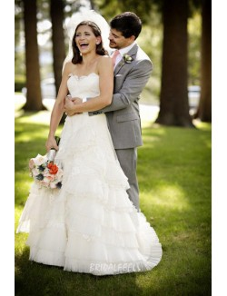 Classic A Line Strapless Sweetheart Organza Lace Fall Wedding Dress