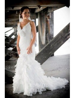 Unique Mermaid V Neck Sleeveless Ruffled Organza Spring Wedding Dress