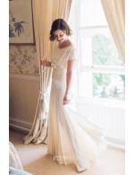 A Line Floor Length Cap Sleeves Informal Spring Wedding Dress