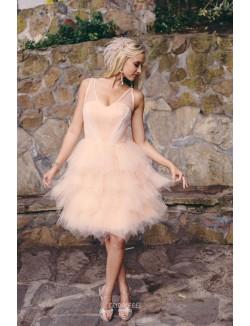 Cute V Neck Sleeveless Short Knee Length Tulle Spring Wedding Dress