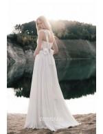 Informal Sleeveless Floor Length Chiffon Lace Spring Wedding Dress