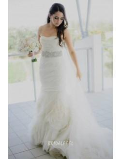 Elegant Mermaid Strapless Floor Length Tulle Fall Wedding Dress