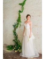 Informal A Line Spaghetti Straps Floor Length Tulle Spring Wedding Dress