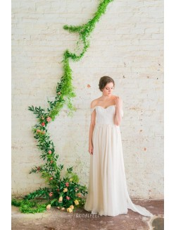 Classic A Line Off The Shoulder Lace Chiffon Summer Wedding Dress