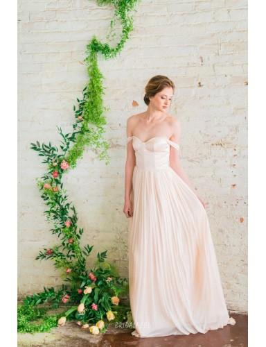 Simple A Line Off The Shoulder Floor Length Chiffon Summer Wedding Dress