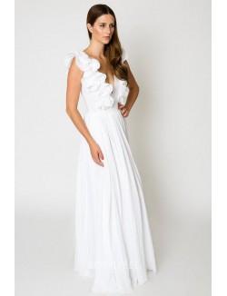 Unique A Line V Neck Sleeveless Floor Length Chiffon Summer Wedding Dress