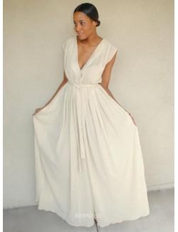 Simple A Line V Neck Sleeveless Floor Length Chiffon Spring Wedding Dress