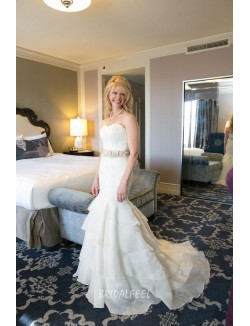 Elegant Mermaid Lace Chiffon Strapless Sweetheart Fall Wedding Dress