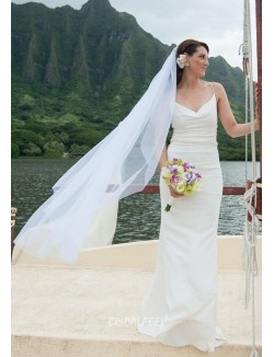 Mermaid Spaghetti Straps Floor Length Simple Summer Wedding Dress