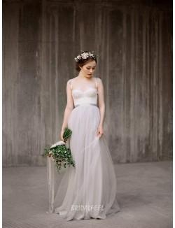 Destination A Line Spaghetti Straps Lace Applique Summer Wedding Dress