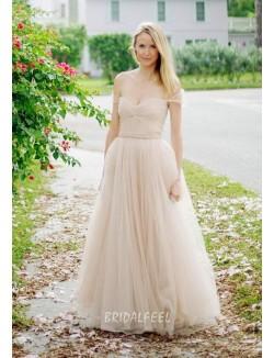 Off The Shoulder A Line Tulle Elegant Floor Length Fall Wedding Dress