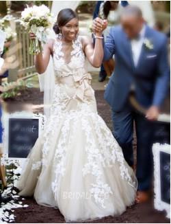 Elegant Lace Applique Illusion Trumpet Fall Tulle Wedding Dress