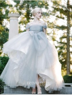 Informal Ball Gown Off The Shoulder Pleated Tulle Fall Wedding Dress
