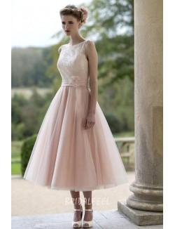 Sleeveless Blush Flower A Line Tea Length Tulle Fall Wedding Dress