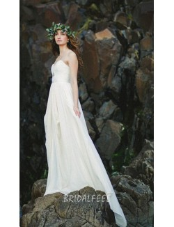 Beach A Line Chiffon Strapless Sweetheart Summer Wedding Dress