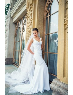 Simple Mermaid Sheer Back Sleeveless White Satin Fall Wedding Dress