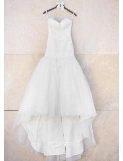 Vintage Mermaid Strapless Floor Length Lace Tulle Fall Wedding Dress