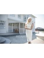 Sleeveless Lace Chiffon Short Fall Wedding Dress With Long Overskirt