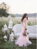Simple Mermaid One Shoulder Floor Length Tulle Fall Wedding Dress