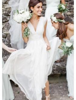 A Line Deep V Neck Cap Sleeve Chiffon Beach Summer Wedding Dress