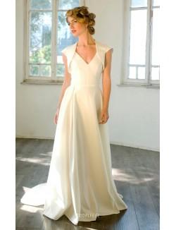 Ivory Satin Sleeveless V Neck Floor Length Wedding Dress With Bolero Jacket