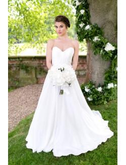 Strapless White Simple A Line Spring Wedding Dress Sweetheart Neckline