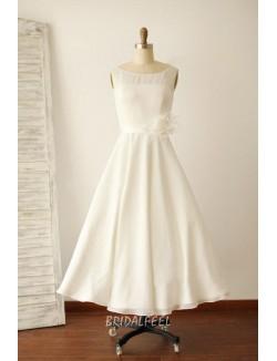 Sleeveless Ivory Sheer Boat Neckline Simple Tea Length A Line Wedding Dress