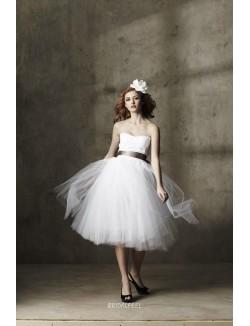 Strapless White Tulle Tea Length Informal Wedding Dress