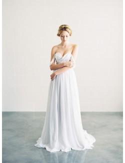 Off The Shoulder Sweetheart Sexy Chiffon A Line Fall Wedding Dress
