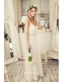 Ivory Lace Sleeveless V Neck Floor Length Wedding Dress With Jewel Belt