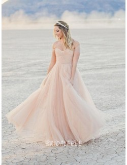 Romantic Off The Shoulder Blush Colored Floor Length Fall Wedding Dress