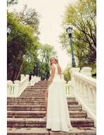 Open Back Ivory High Neck Sleeveless V Neck Unqie Wedding Dress