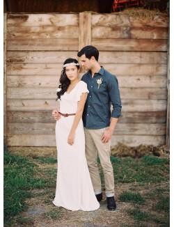 Simple Ivory Chiffon Floor Length Fall Wedding Dress Flutter Sleeves
