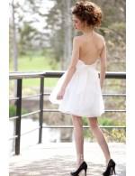 Sexy Strapless Short Mini Unique Summer Organza Wedding Dress